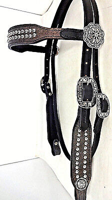 Details about  /Pair Jeremiah Watt Buckles White Bronze M /& W Round Horse Tack Headstalls Concho
