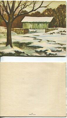 VINTAGE CHRISTMAS COUNTRY RUSTIC CHARM STREAM SNOW TREES BRIDGE GREETING CARD