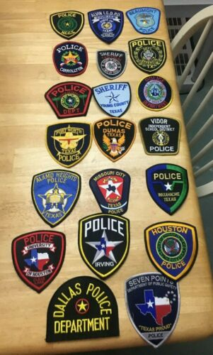 NICE LOT OF 20 TEXAS POLICE  SHOULDER PATCHES  TX04