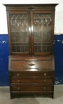 Antique ~Oak ~Bureau Bookcase ~Bureaux ~Bubble Glass ~ VGC