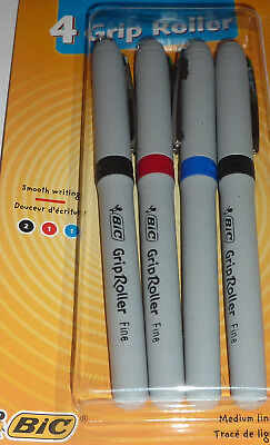 Bic 4 Pack Writing Grip Roller Pens-3 Colours2 Black1 Blue1 Red Medium Point