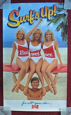 Sexy Girl Beer Poster Bud Budweiser ~ Trio of Swimsuit Blondes on Surfboard SURF