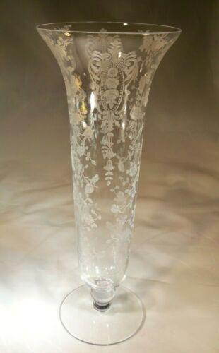 """CAMBRIDGE GLASS CO. ROSE POINT CRYSTAL #6004 11-3/4"""" TALL FOOTED BLOWN VASE!"""