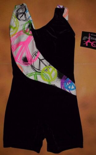 NWT BP Designs Gymnastic Biketard Shorty Unitard Peace Sgn Blk Velvet Youth X-Sm
