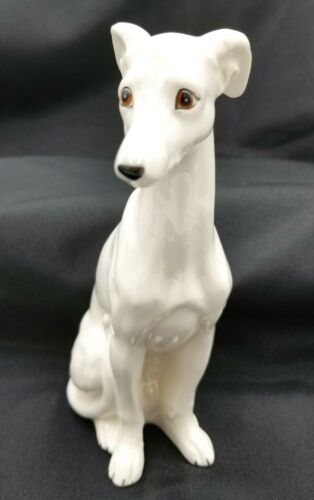 Greyhound Whippet Dog Sitting White Porcelain Figurine Statue Vintage 1940 1950