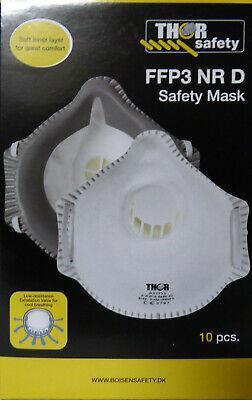 Feinstaubmaske 10 Stück FFP3 NR D mit Ventil Mundschutz Atemschutzmaske Maske