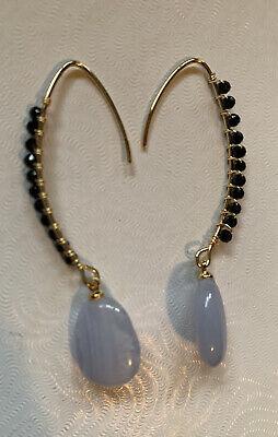 Hespera Blue Lace Agate Dangle Bead Earrings 14k Yellow Gold Ear Wire
