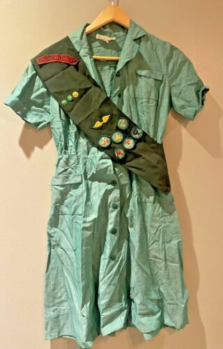Vintage Girl Scout Dress With Sash