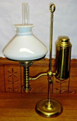 Antique Manhattan ? Brass Student Lamp w/ White Glass Shade