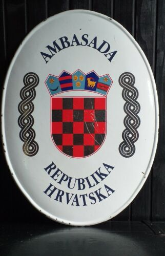 CROATIAN Embassy enamel sign 67 cm  26""