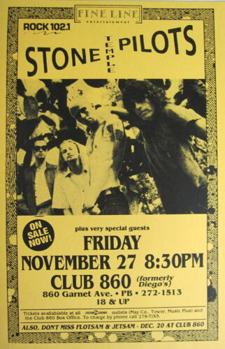 "STONE TEMPLE PILOTS ""CORE 1992 TOUR"" SAN DIEGO CONCERT POSTER -Grunge Rock Music"