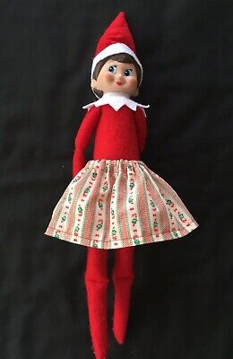 Christmas Scout Elf Skirt - Candy Cane Ribbon Stripe - Girl Doll Clothes Shelf