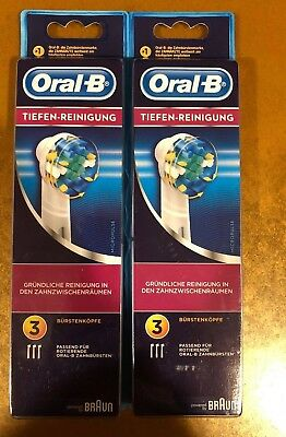 6 BRAUN ORAL B FLOSS ACTION TOOTHBRUSH REPLACEMENT BRUSH HEADS -