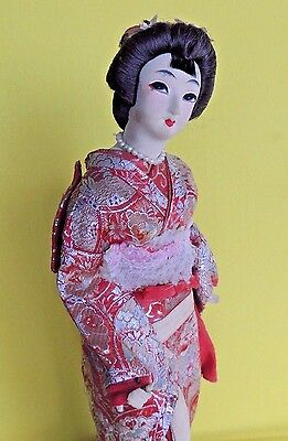 Vintage Beautiful Japanese Doll  Red Costume Wood Base 15