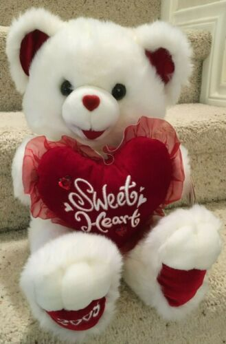 Dan Dee 2008 Plush White Sweetheart Teddy Bear Holding Heart w TAGS Valentines