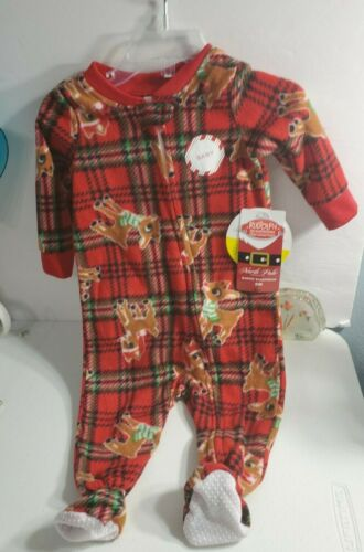 North Pole Rudolph The Red Nose Reindeer Plaid Baby PJs Soft Sleeper 9 Months