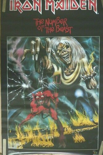 RARE IRON MAIDEN THE NUMBER OF THE BEAST 1982 VINTAGE ORIGINAL MUSIC POSTER