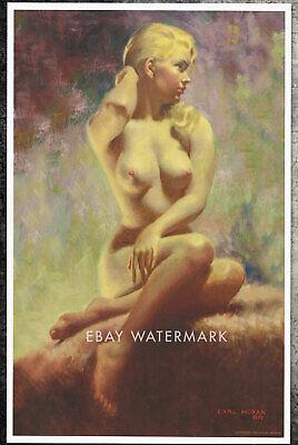 "1970's Earl Moran Pin-Up Poster Art Print ""The Blushing Blonde"" 11x17 Pastel  for sale  Portland"