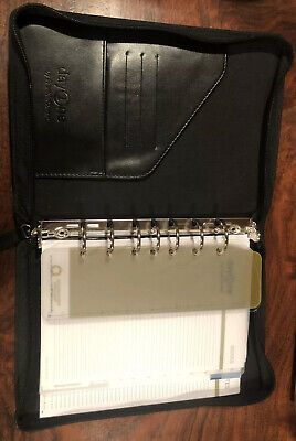 Franklin Covey Day One Zip 1.25 7 Ring Binder Planner Organizer 8.5 X 6 Black