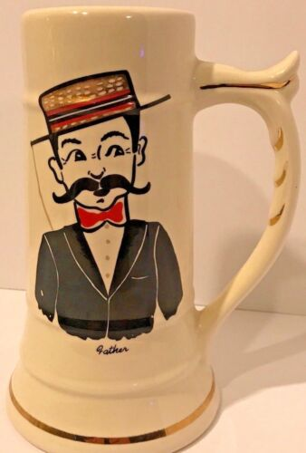 FATHER Ceramic Carrollton Ohio Beer Stein Mug Cup Vintage