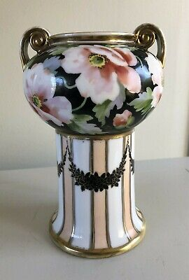 Nippon hand painted vase with beautiful floral and scenic designs.