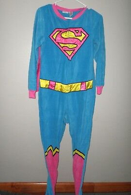 SUPERGIRL juniors small DC Comics footed pajamas Superman sleepwear size 4-6