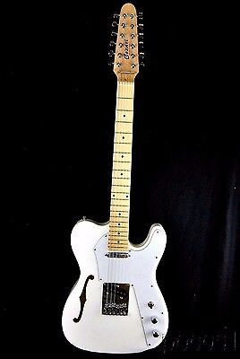 NEW WHITE SEMI-HOLLOW 12 STRING THINLINE TELE STYLE ELECTRIC GUITAR
