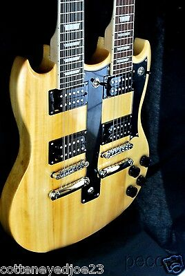 BEAUTIFUL NEW NATURAL DOUBLE NECK 12 & 6 STRING ELECTRIC GUITAR AND CASE