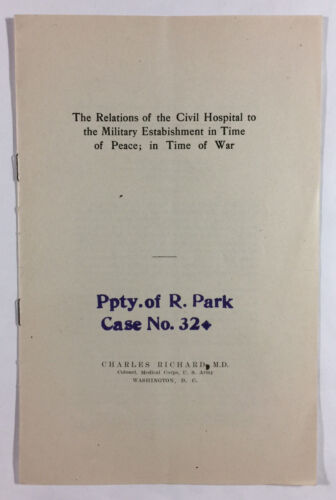 Civil Hospital And Military Establishment In Peace And War Charles Richard 1912