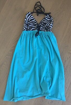 ZEBRA PRINT TURQUOISE BABY DOLL DRESS ONE SIZE Zebra Print Baby Doll
