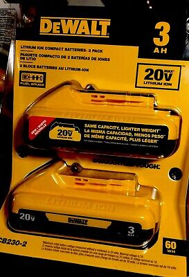 DeWalt DCB (230-2) 20-Volt MAX Lithium-Ion Compact Battery 2 Pack! Brand New!