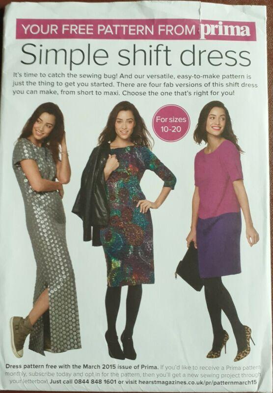 Prima+Simple+Shift+Dress+Sewing+Pattern%2C+March+2015%2C+sizes+10-20%2C+UNCUT