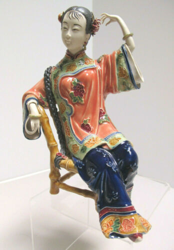 Gorgeous Vintage Shiwan Chinese Porcelain Reclining Woman Figurine Artist Signed