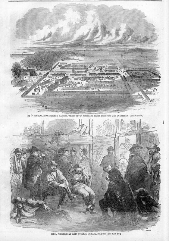 CAMP DOUGLAS NEAR CHICAGO ILLINOIS SEVEN THOUSAND REBEL PRISONERS CIVIL WAR CAMP