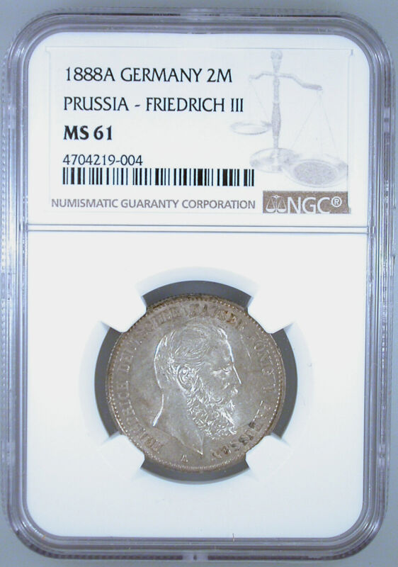 1888A Germany 2 Mark Prussia- Friedrich III MS-61 NGC Certified