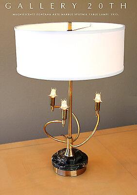 RARE! FONTANA ARTE MID CENTURY MODERN MARBLE & BRASS TABLE LAMP! VTG LAUREL 50'S