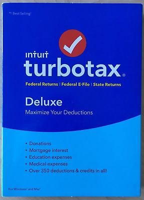 TurboTax Deluxe Federal + E-File + State 2017, For PC/Mac, Traditional Disc
