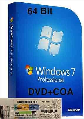 Windows 7 Pro Professional CoA License Key + DELL installation DVD 64-bit SP1