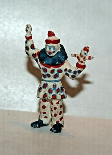 Lead Circus Clown holding Puppet Polka Dot Oversized Shoes 1-3/4 Inch