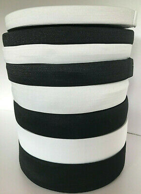 Black or White Elastic, Flat woven, 10mm 15mm 20mm 25mm 30mm 40mm 50mm