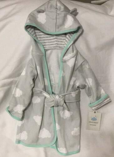 Cloud Island Infant Hooded Bath Robe Size 6-9 months green gray clouds new