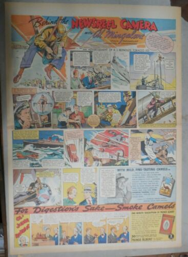 Camel Cigarette Ad: Al Mingalone Newsreel Cameraman ! Full Page Size! from 1937