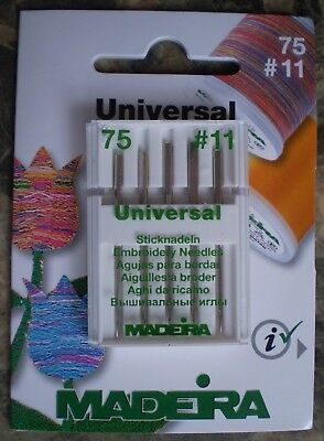 Madeira Embroidery Needles - Universal - pack of 5.  Size 75 / 11