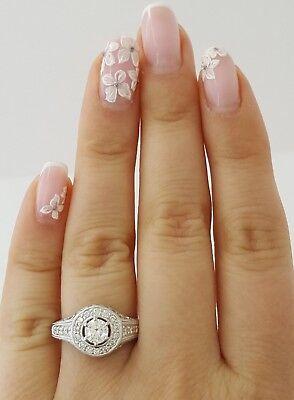 0.75 ct 18K White Gold Round Diamond Halo Engagement Ring GIA Rtl $2,700 1