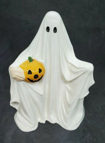 """Vintage Hand Made White Ceramic Friendly Ghost Figurine 9"""" Byron Mold 1972"""