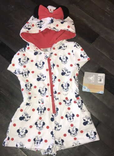 Disney Minnie Mouse Hooded Zippered Jumper Swim Cover up Size 2 Toddler NWT