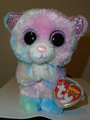 "Ty BLESSING - Pink/Rainbow Tie-Dyed Praying Bear 6"" (Exclusive) Beanie Boos NEW"