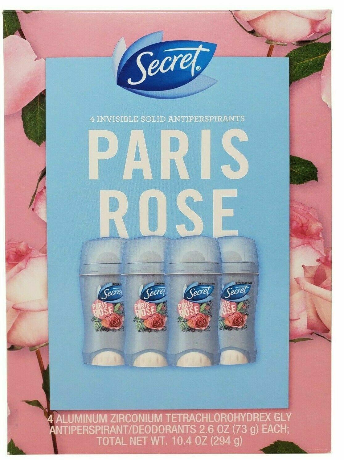 Secret 4 PACK Paris Rose Invisible Solid Antiperspirant/Deod