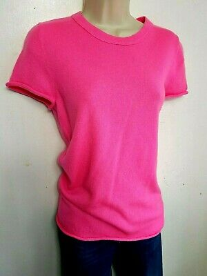J CREW 100% PURE CASHMERE JUMPER TOP M PINK SHORT SLEEVE  #04/15