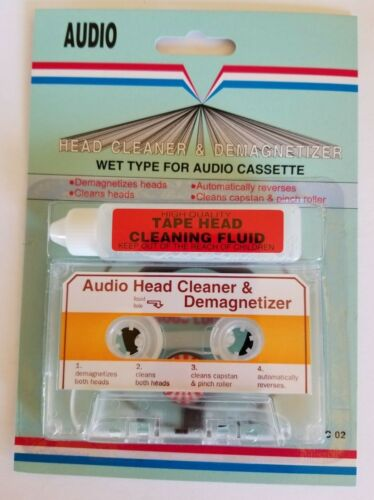 Cassette Tape Head Cleaner + Demagnetizer for most audio cassette deck player